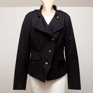 Black Military Blazer with Brass Buttons